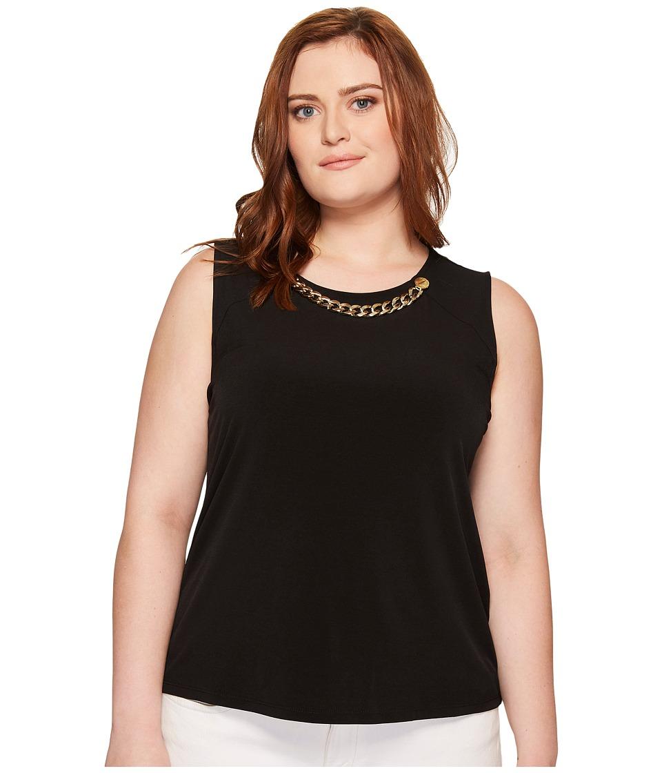 Calvin Klein Plus Plus Size Sleeveless Top with Rivet Chain (Black) Women
