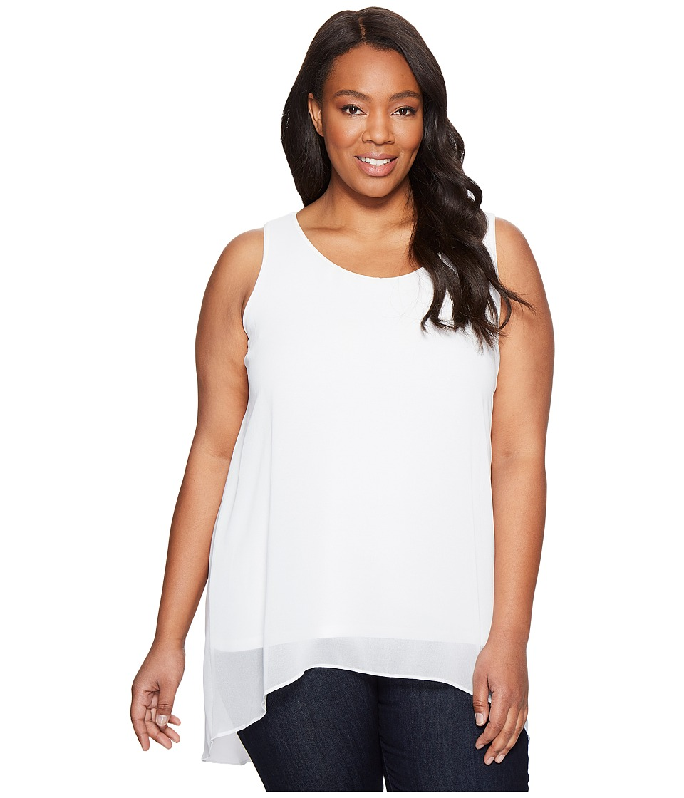 Calvin Klein Plus - Plus Size Slit Back Top with Chiffon Overlay (Soft White) Women's Sleeveless
