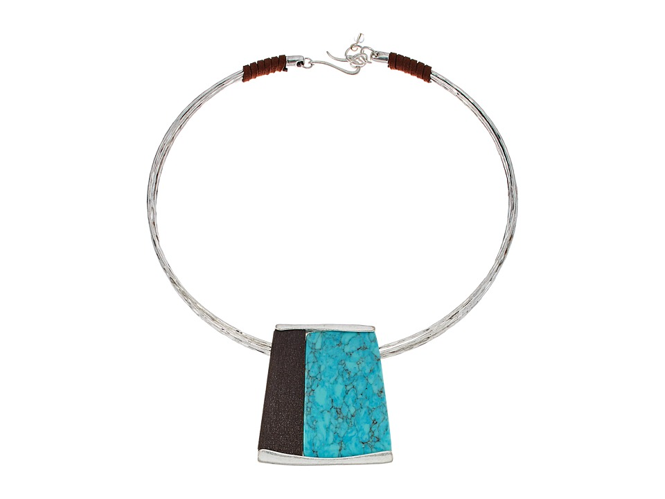 Robert Lee Morris - Semiprecious Stone Geometric Pendant Wire Collar Necklace (Turquoise) Necklace