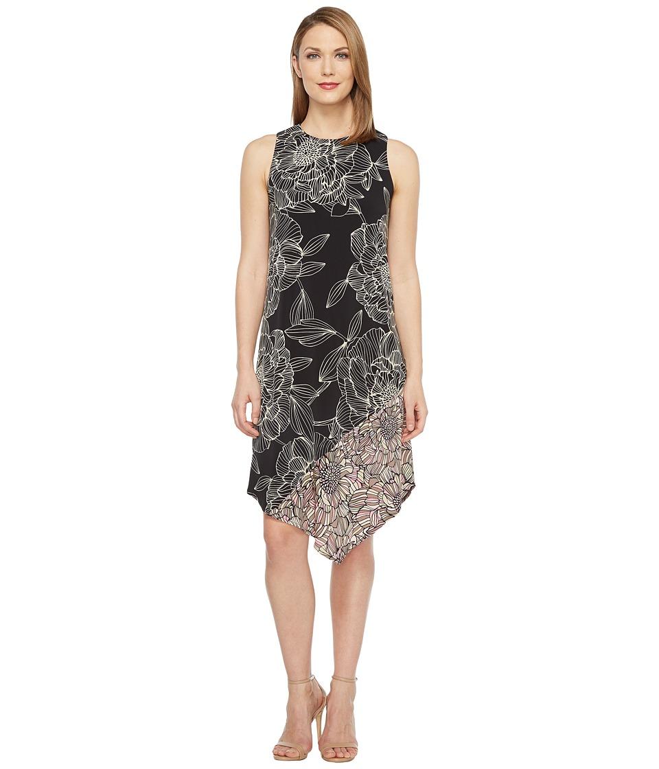 London Times - Sleeveless Asymmetrical Dress (Black/Taupe) Women's Dress