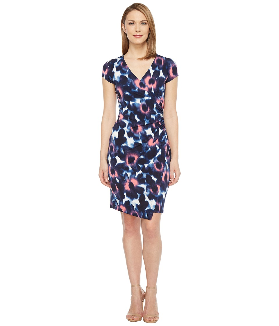 London Times - Woodstamp Daisy Side Ruched Dress (Coral) Women's Dress