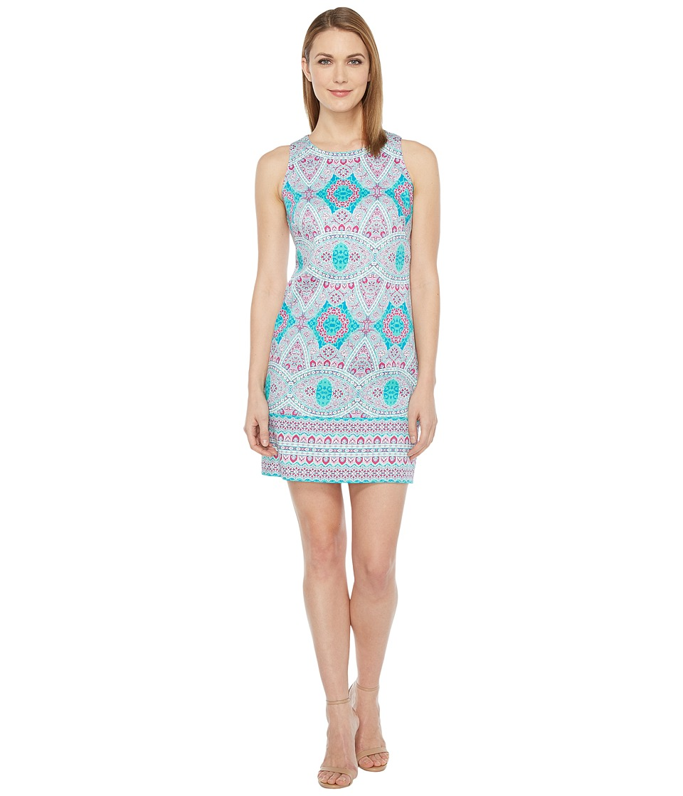 London Times - Oval Mosaic Tile Shift Dress (Pink) Women's Dress