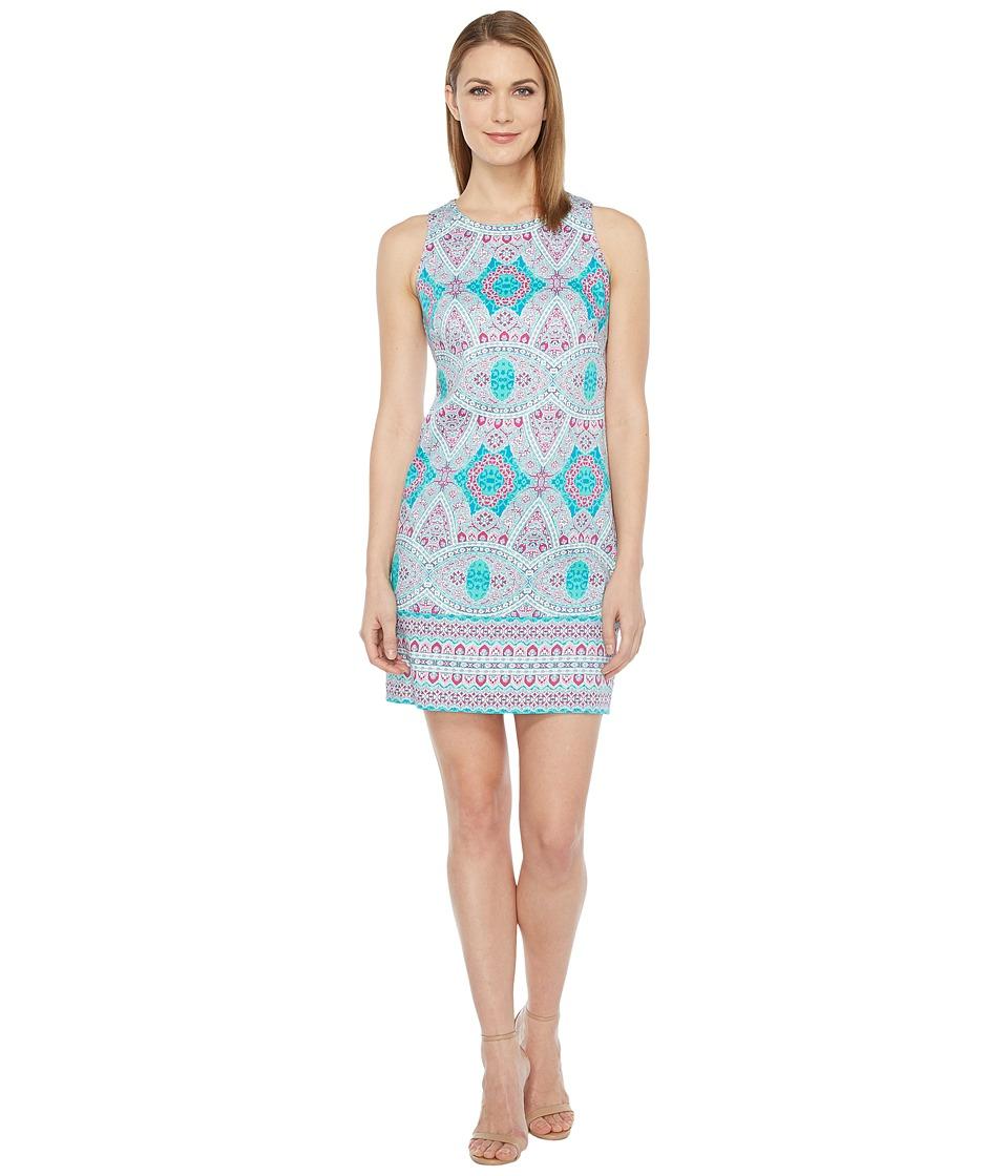 London Times - Oval Mosaic Tile Shift Dress (Pink) Women's Dress