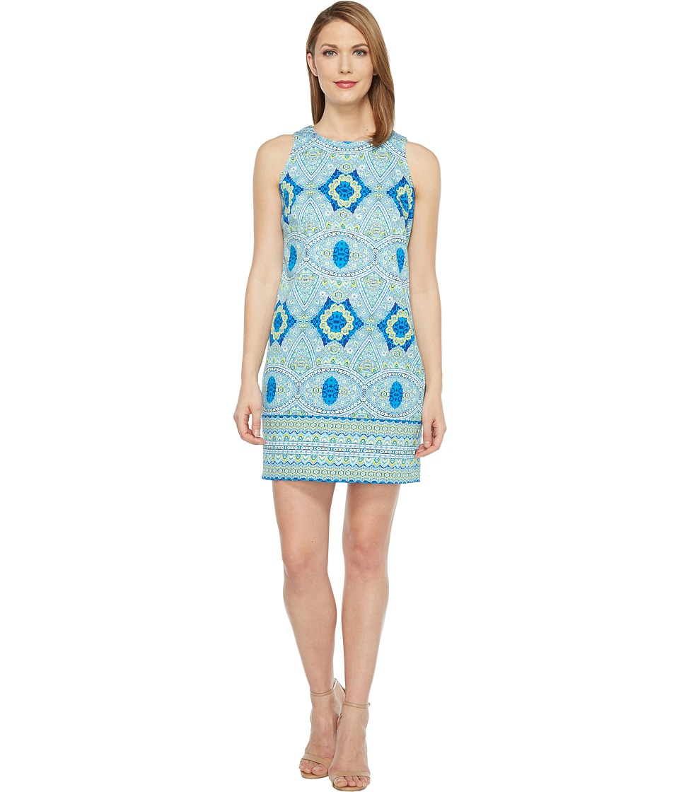 London Times - Oval Mosaic Tile Shift Dress (Blue) Women's Dress