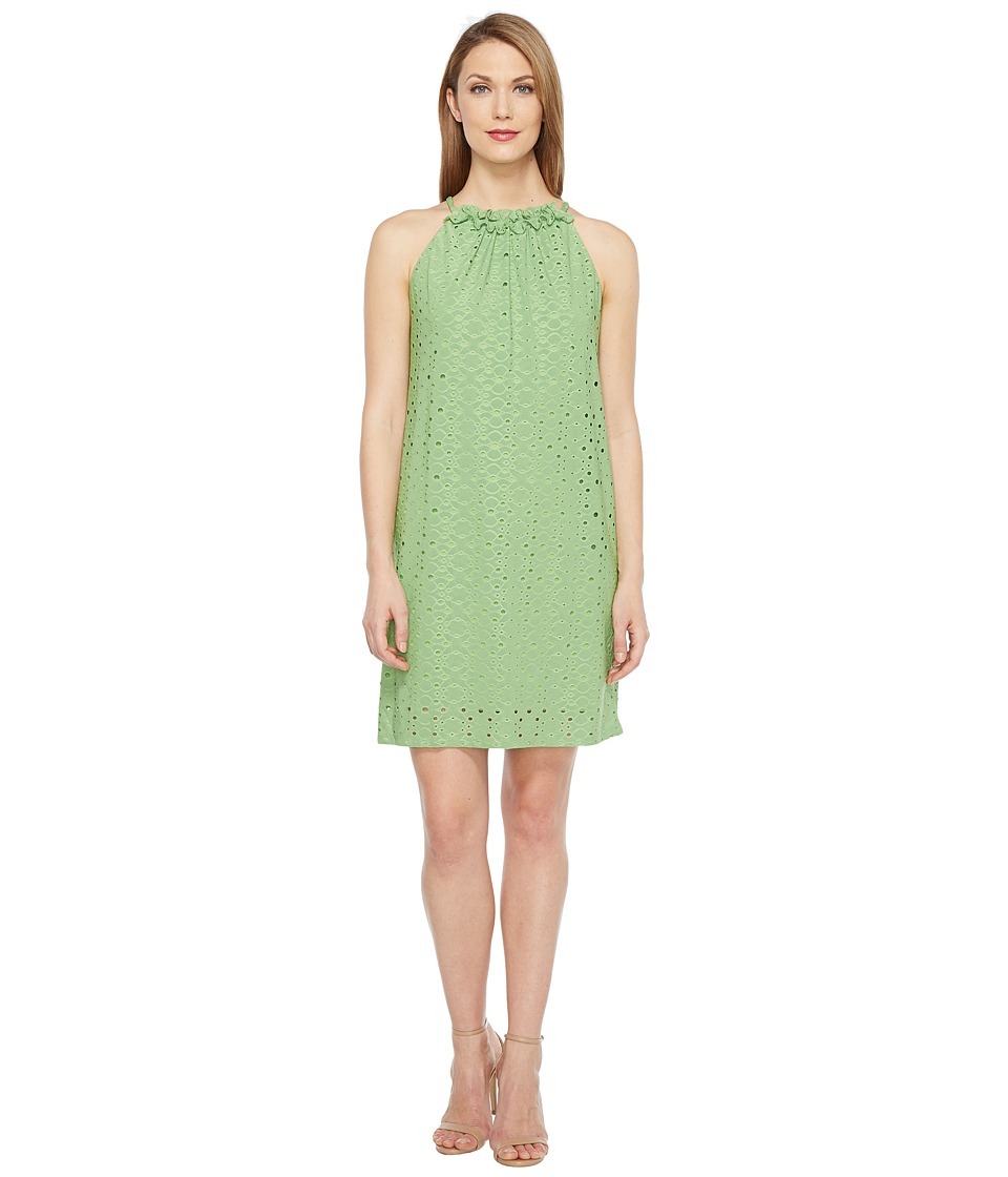 London Times Embroidered Jersey Ruffle Halter Dress (Leaf) Women