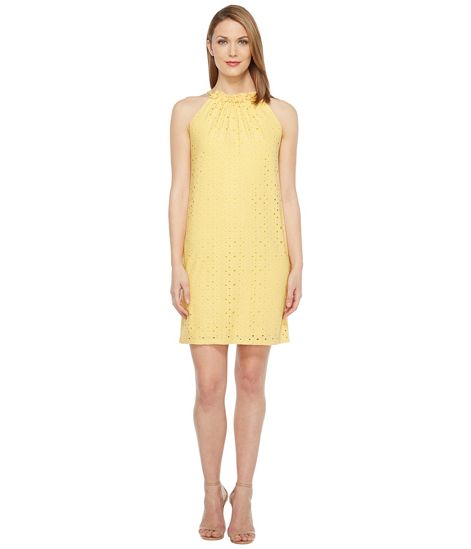 London Times Embroidered Jersey Ruffle Halter Dress (Yellow) Women