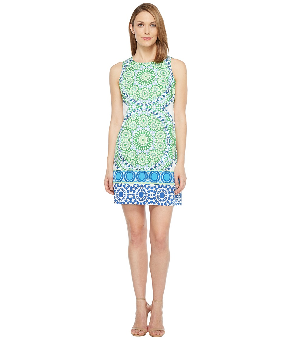 London Times Flower Tile Sleeveless Shift Dress (Green Multi) Women