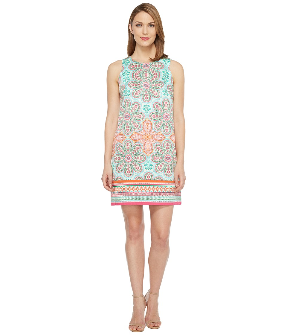London Times - Cotton Sateen Shift Dress (Orange/Pink) Women's Dress
