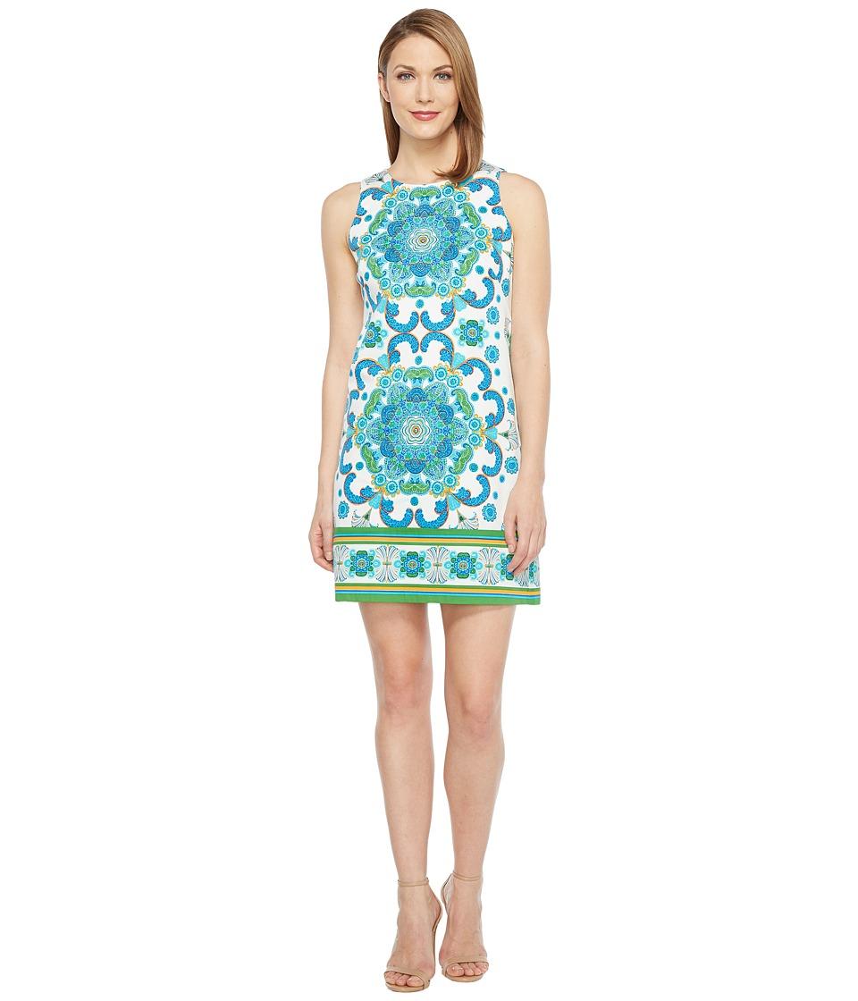 London Times - Cotton Sateen Shift Dress (White/Blue) Women's Dress