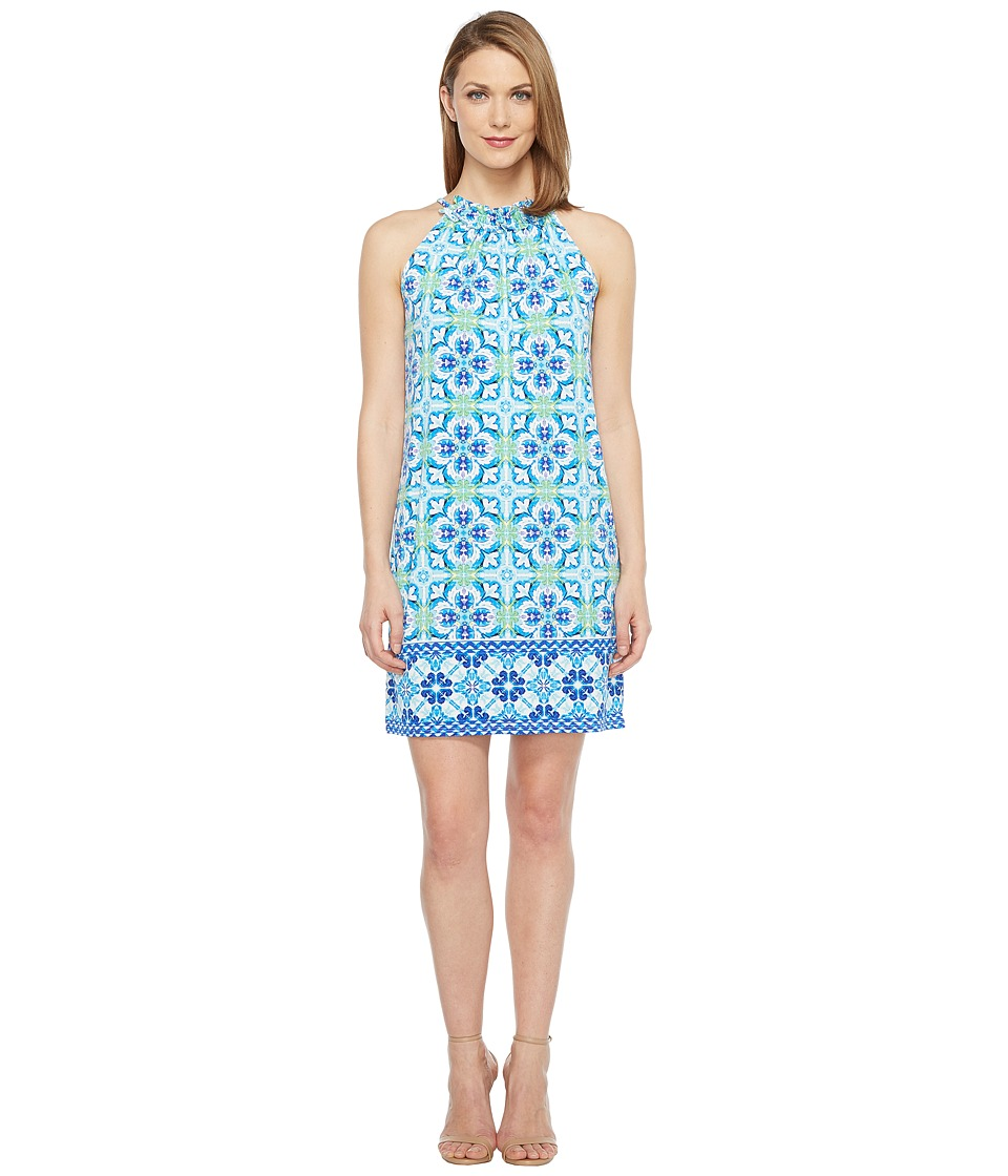 London Times Ruffle Neck Halter Shift Dress (Blue) Women