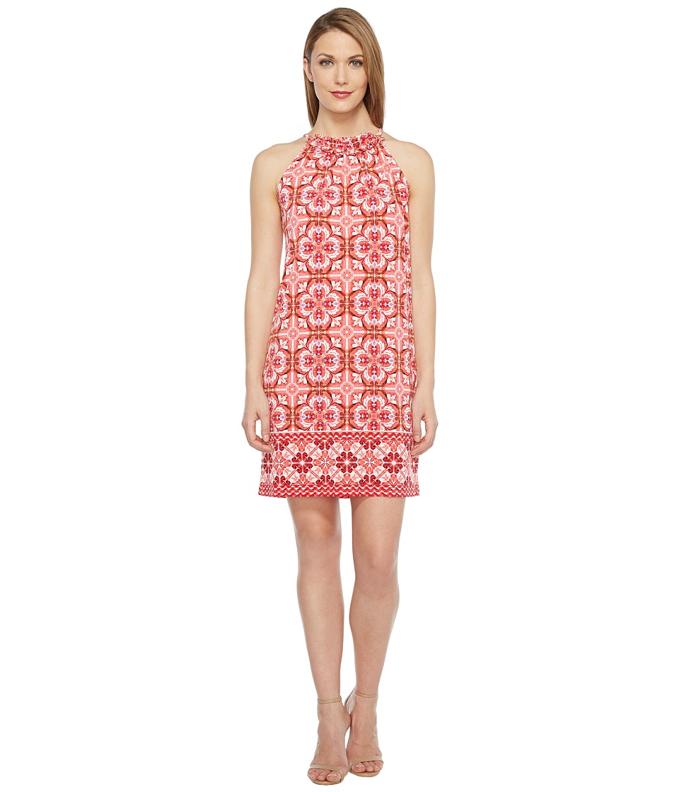 London Times Ruffle Neck Halter Shift Dress (Coral) Women