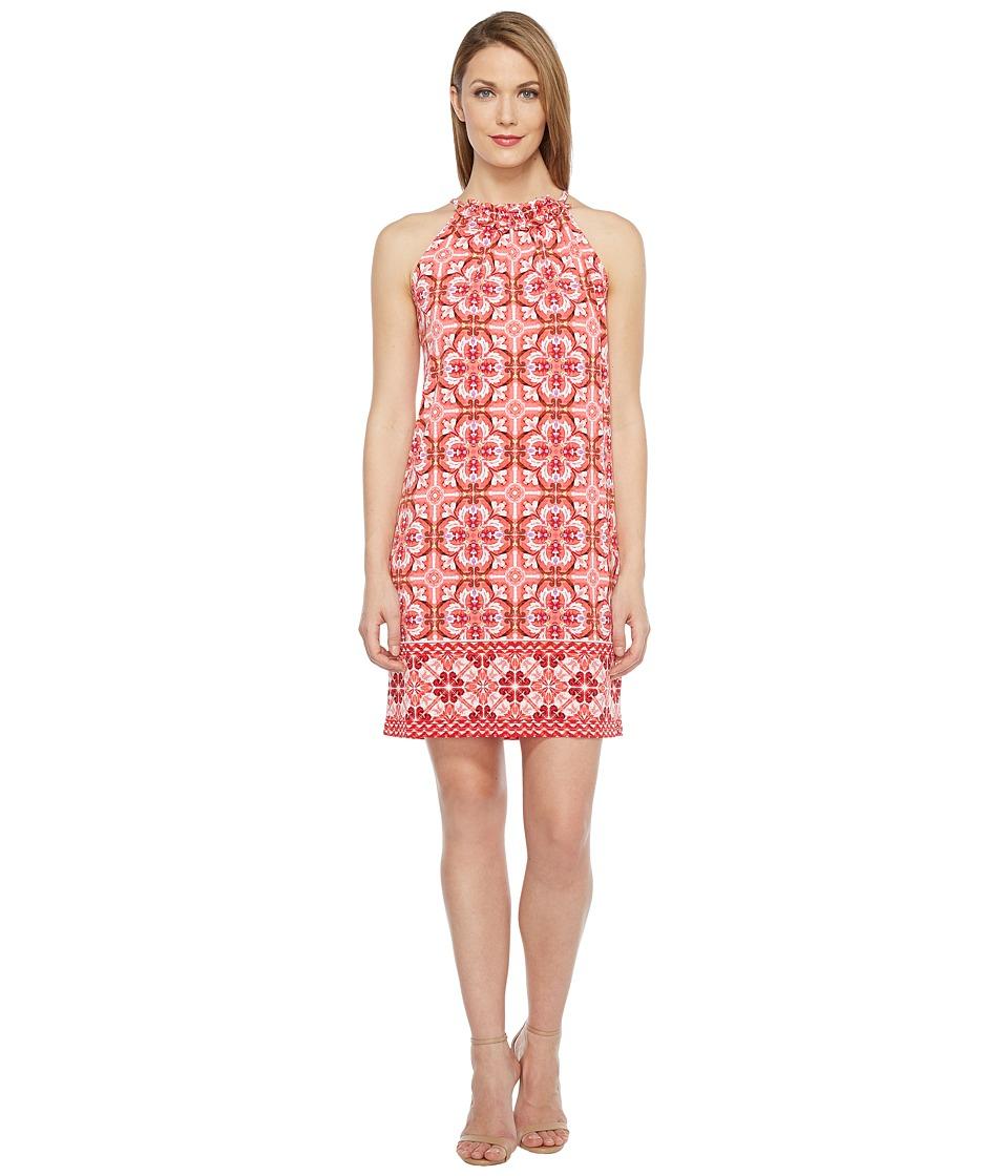 London Times - Ruffle Neck Halter Shift Dress (Coral) Women's Dress
