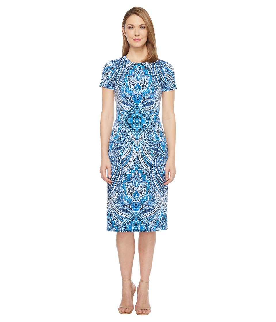 London Times Feather Scroll Short Sleeve Sheath Dress (Blue) Women