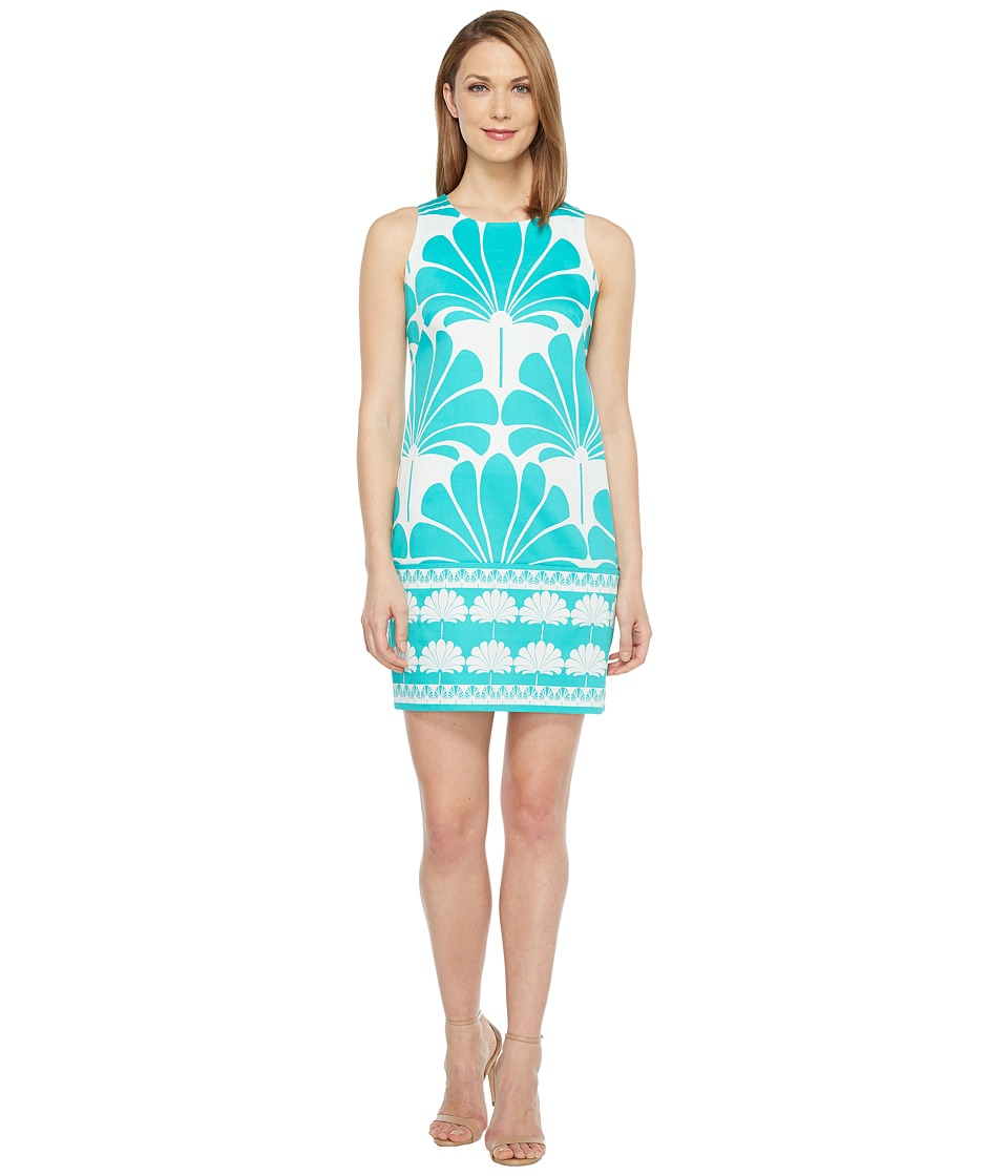 London Times - Geko Border Sleeveless Shift Dress (Aqua) Women's Dress