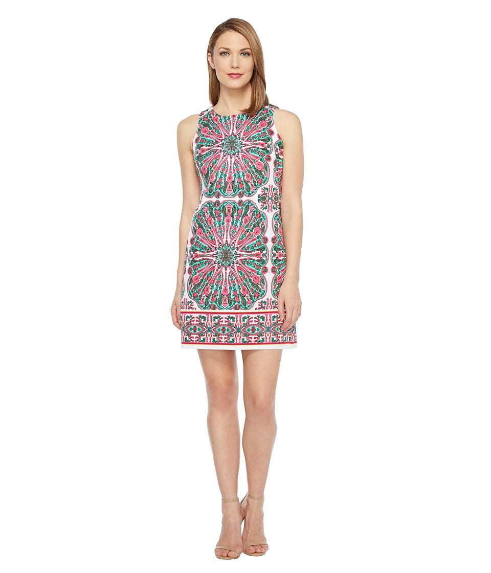 London Times Cotton Sateen Shift Dress (White/Pink) Women