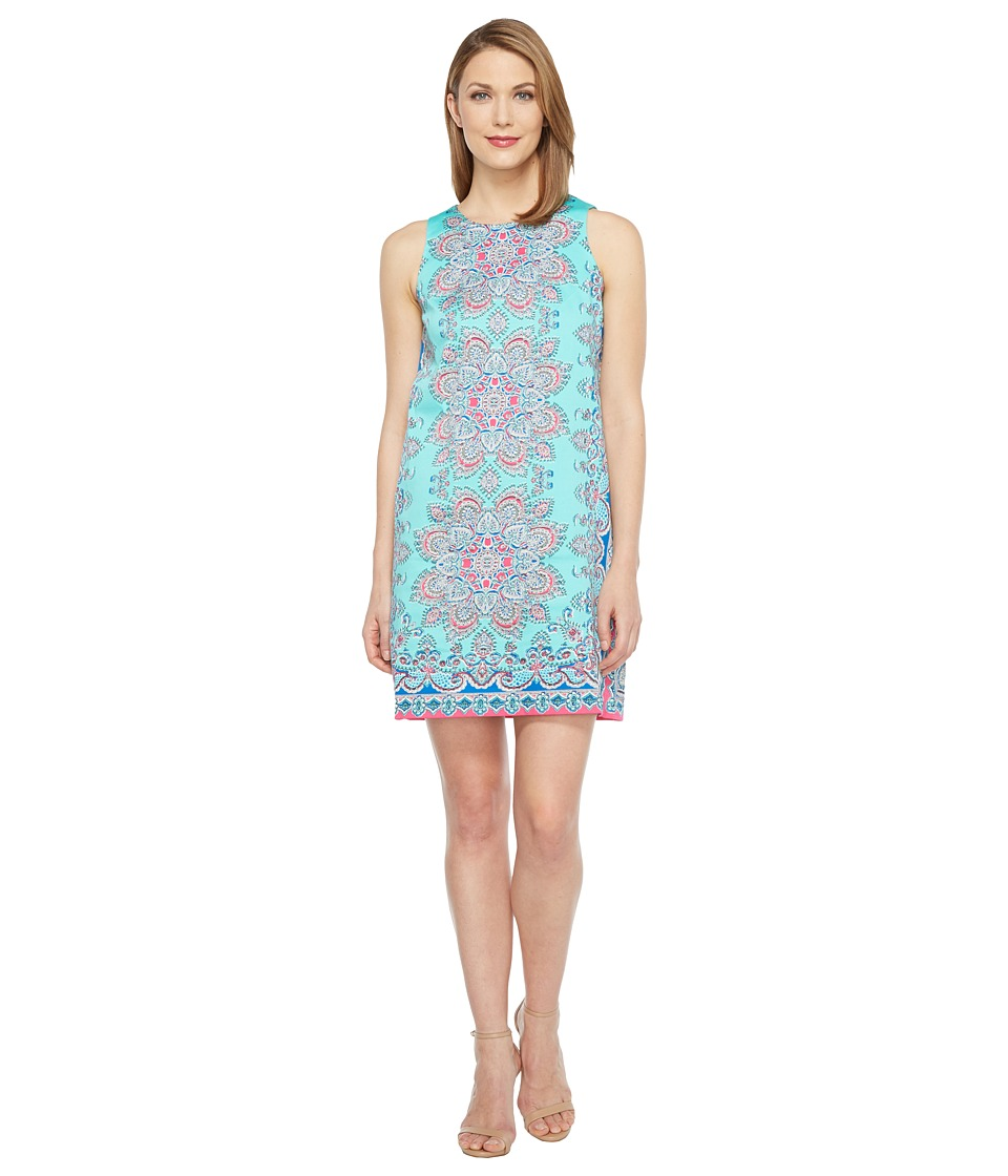 London Times - Medallion Scarf Cotton Shift Dress (Aqua Multi) Women's Dress
