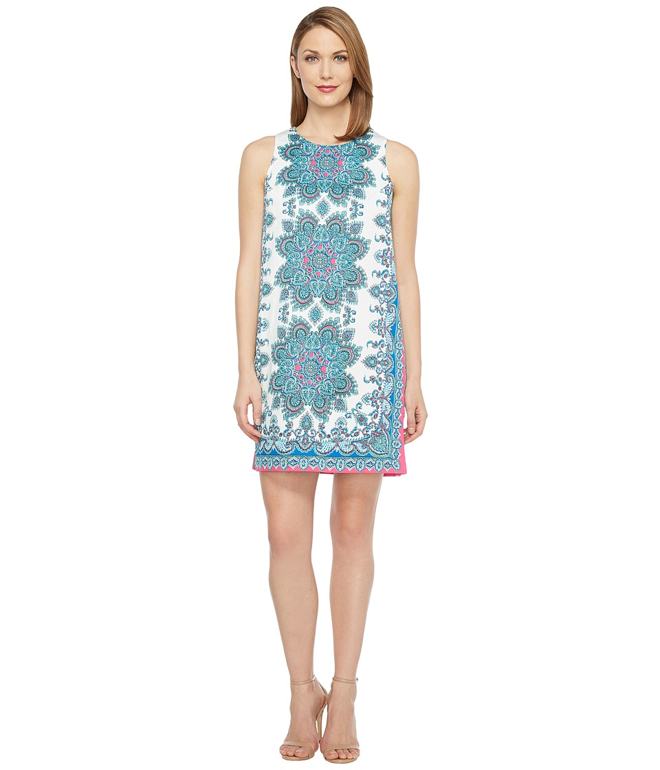 London Times - Medallion Scarf Cotton Shift Dress (White Multi) Women's Dress