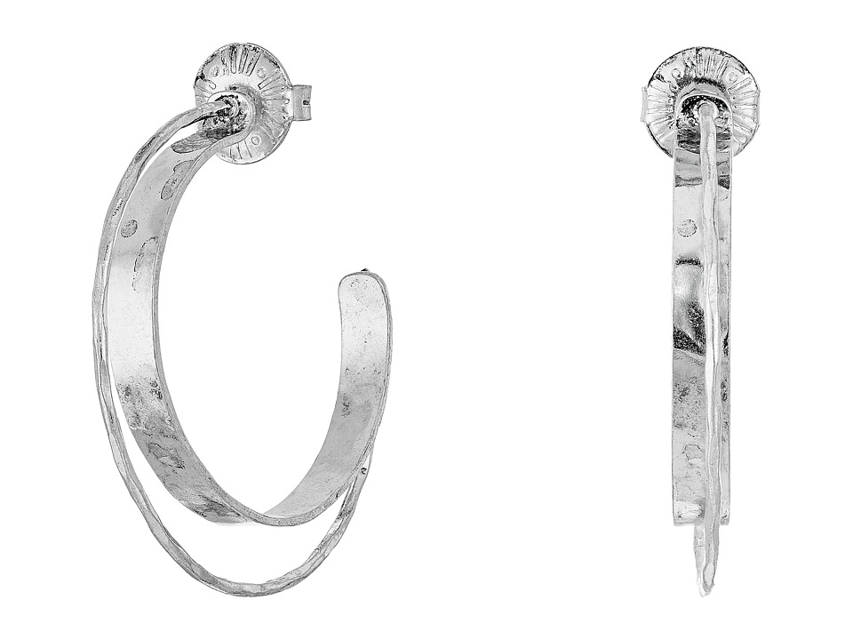 Robert Lee Morris - Sculptural 2 Row Half Hoop Earrings (Silver) Earring
