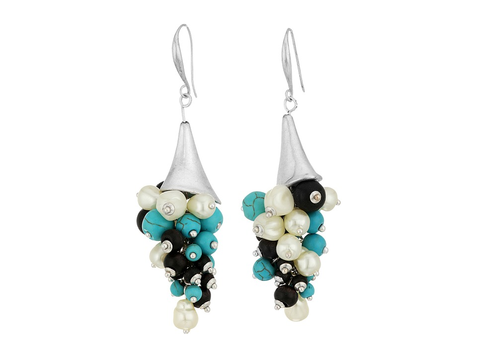 Robert Lee Morris - Mixed Semiprecious Shaky Beaded Sculptural Drop Earrings (Turquoise) Earring