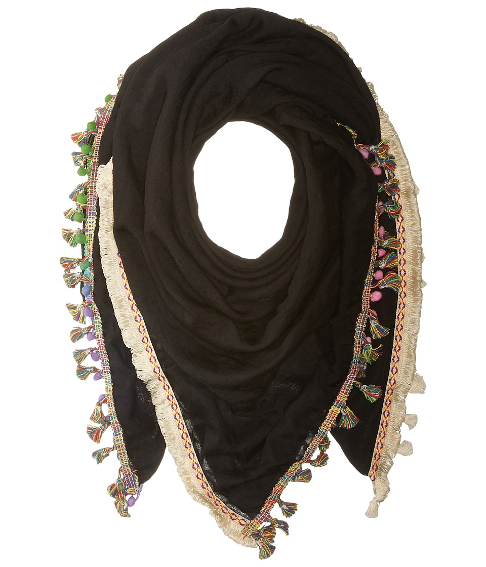 Steve Madden - Catalunya Tassel Day Wrap (Black) Scarves