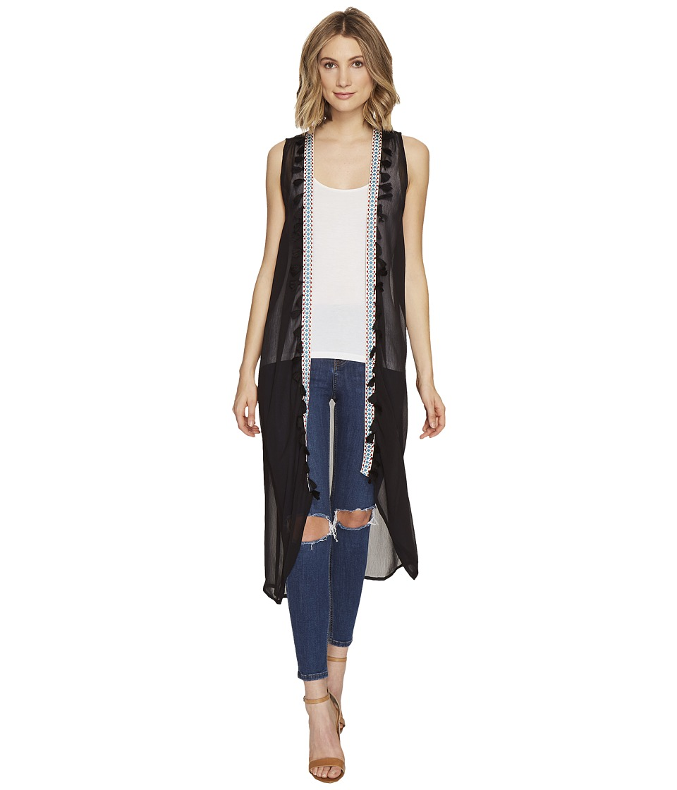 Steve Madden - Duster Vest with Tassel Trim (Black) Women's Vest