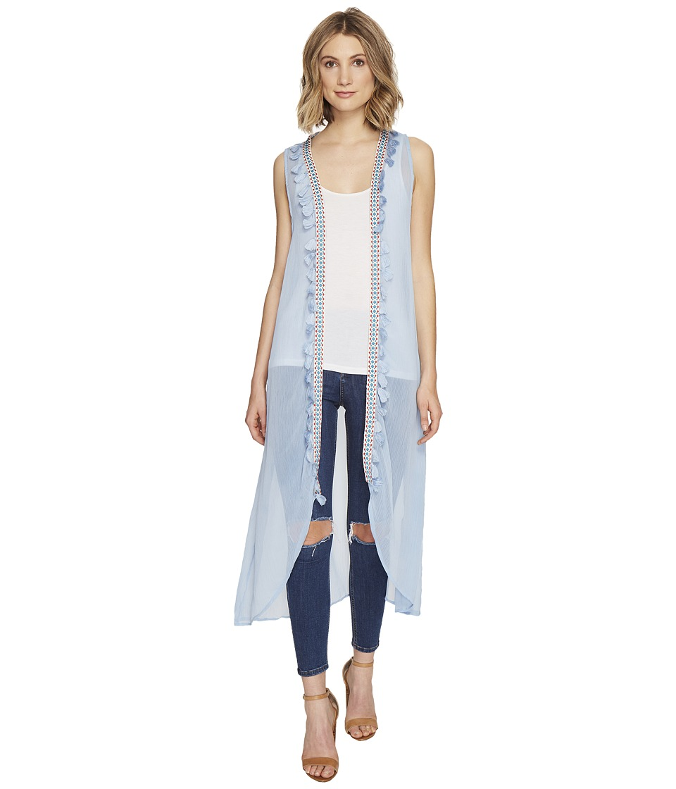 Steve Madden - Duster Vest with Tassel Trim (Denim) Women's Vest