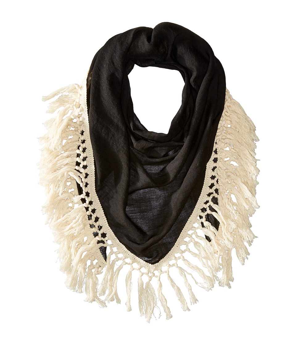 Steve Madden - Oversized Tassel Triangle Day Wrap (Black) Scarves