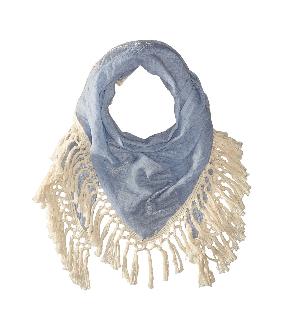 Steve Madden - Oversized Tassel Triangle Day Wrap (Denim) Scarves