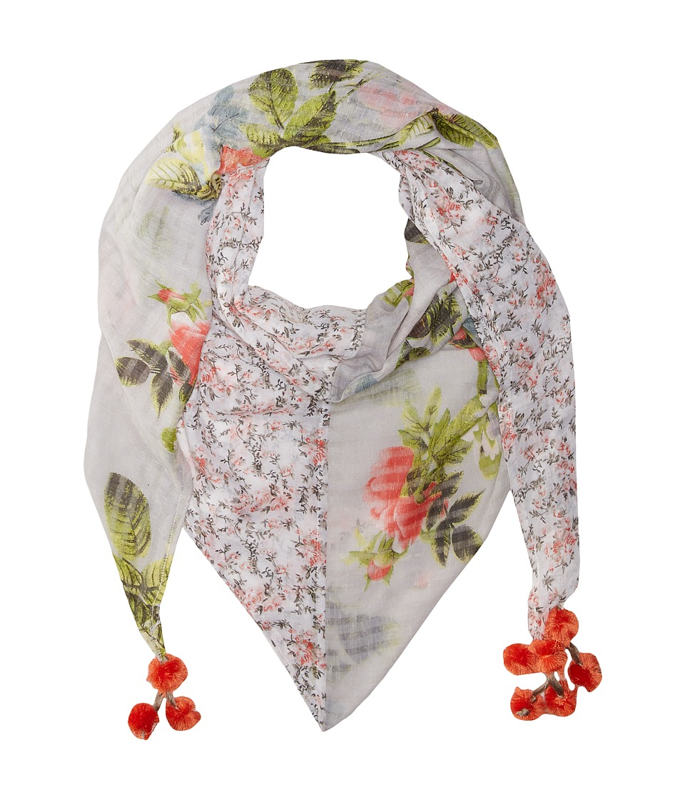 Steve Madden - Coco Floral Patched Day Wrap (Coral) Scarves