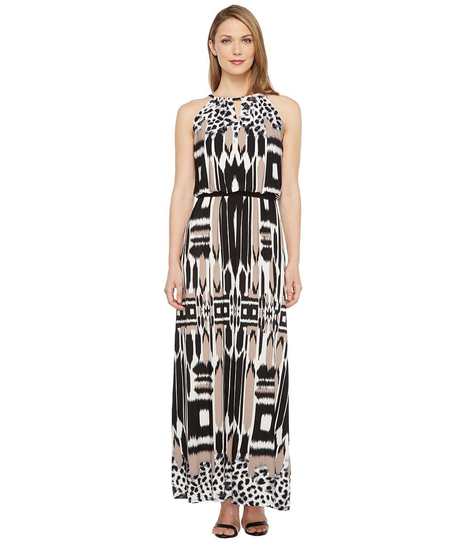 London Times - Printed Jersey Maxi Dress (Taupe/Black) Women's Dress