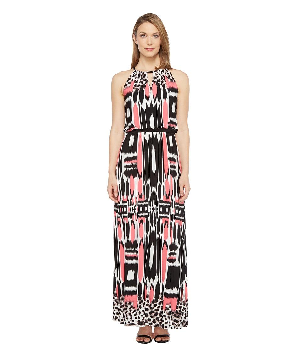 London Times - Printed Jersey Maxi Dress (Soft White/Coral) Women's Dress