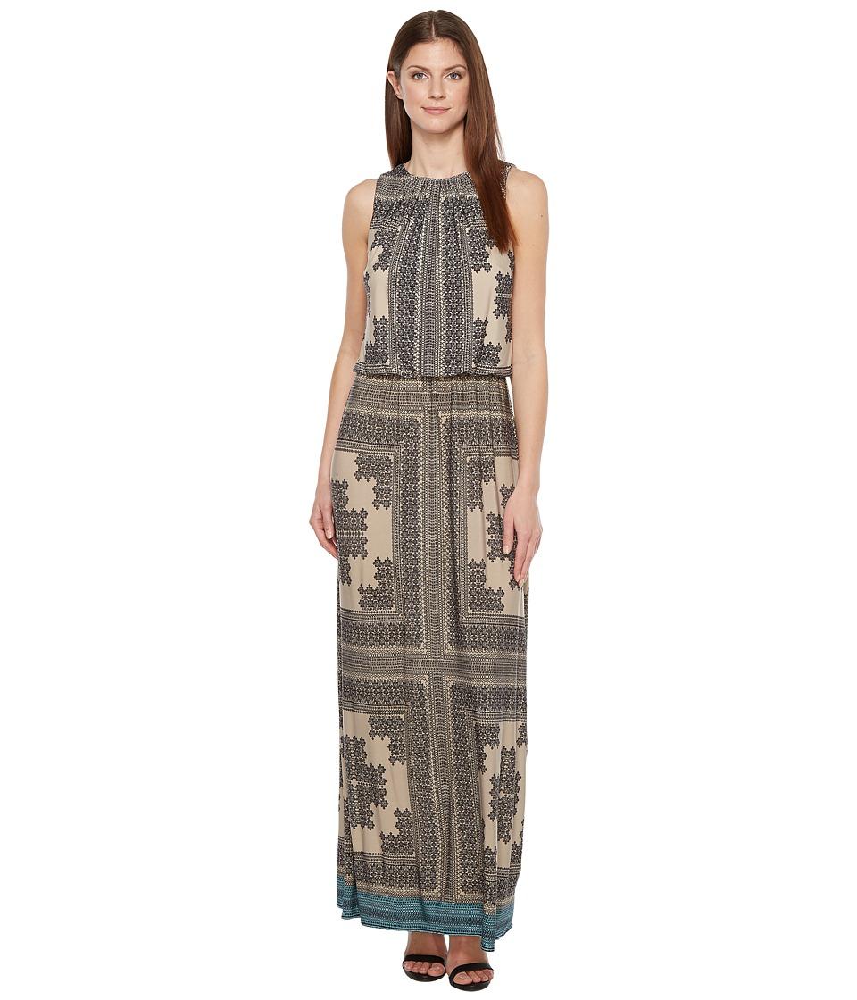 London Times - Sleeveless Printed Blouson Maxi Dress (Peri Blue) Women's Sleeveless