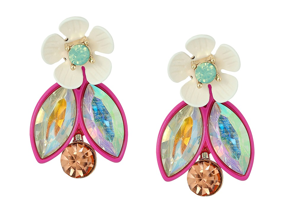 Betsey Johnson - Flower Faceted Stone Cluster Jacket Earrings (Multi) Earring