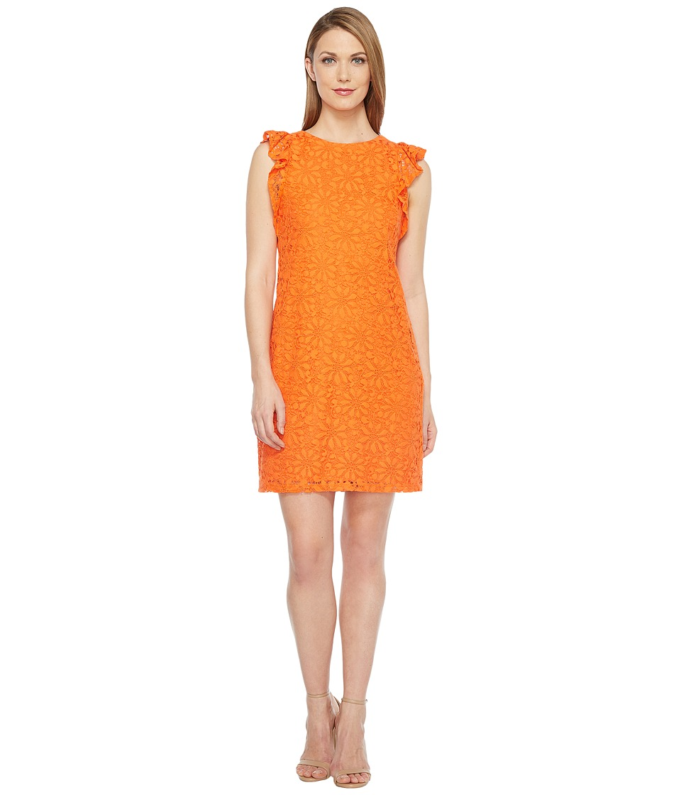 London Times Daisy Tile Lace Ruffle Sleeve Shift Dress (Orange) Women