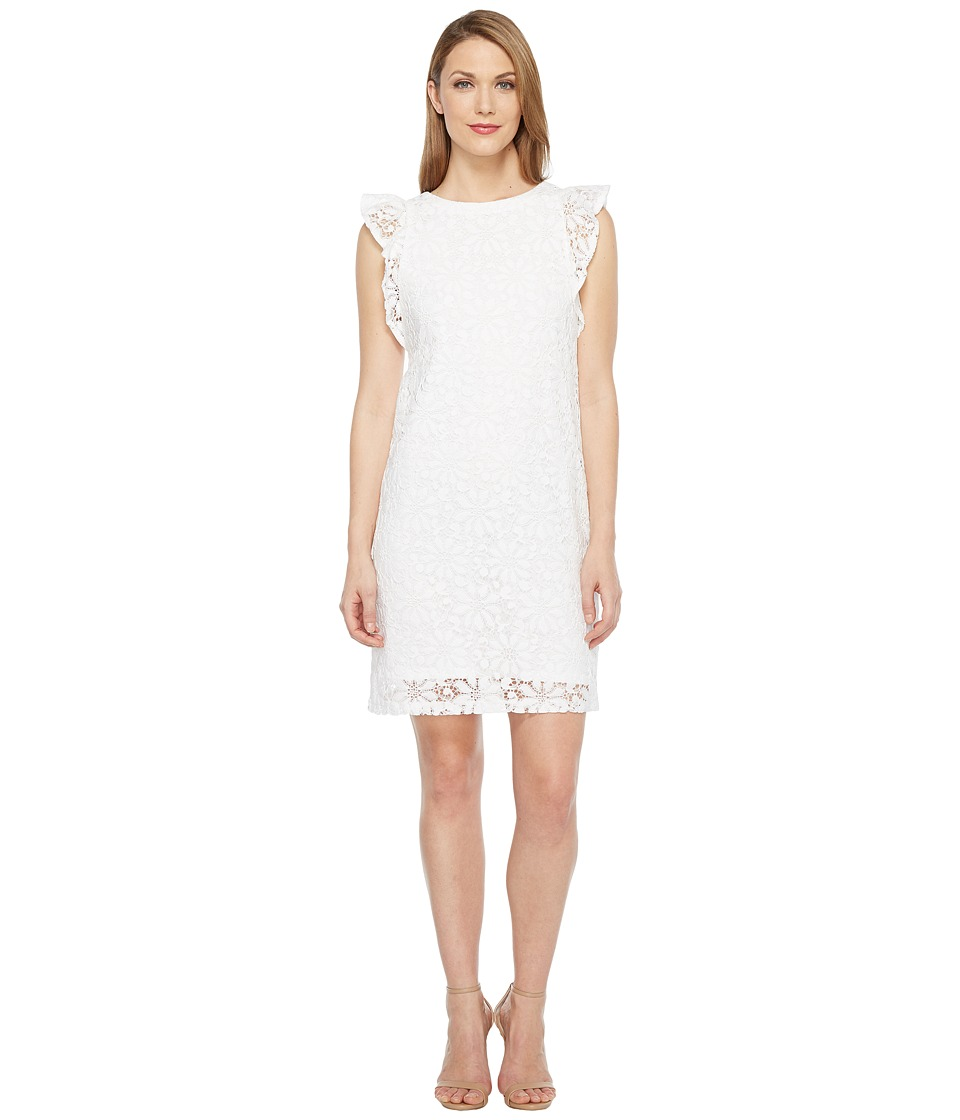London Times Daisy Tile Lace Ruffle Sleeve Shift Dress (White) Women