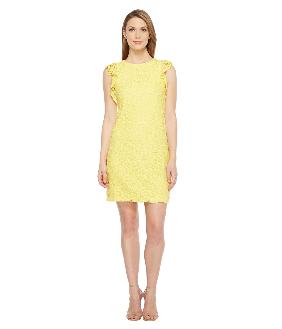 London Times Daisy Tile Lace Ruffle Sleeve Shift Dress (Yellow) Women