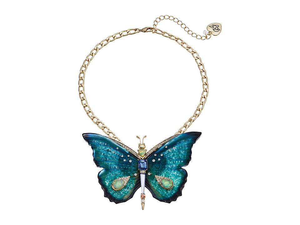 Betsey Johnson - Large Butterfly Pendant Necklace (Multi) Necklace