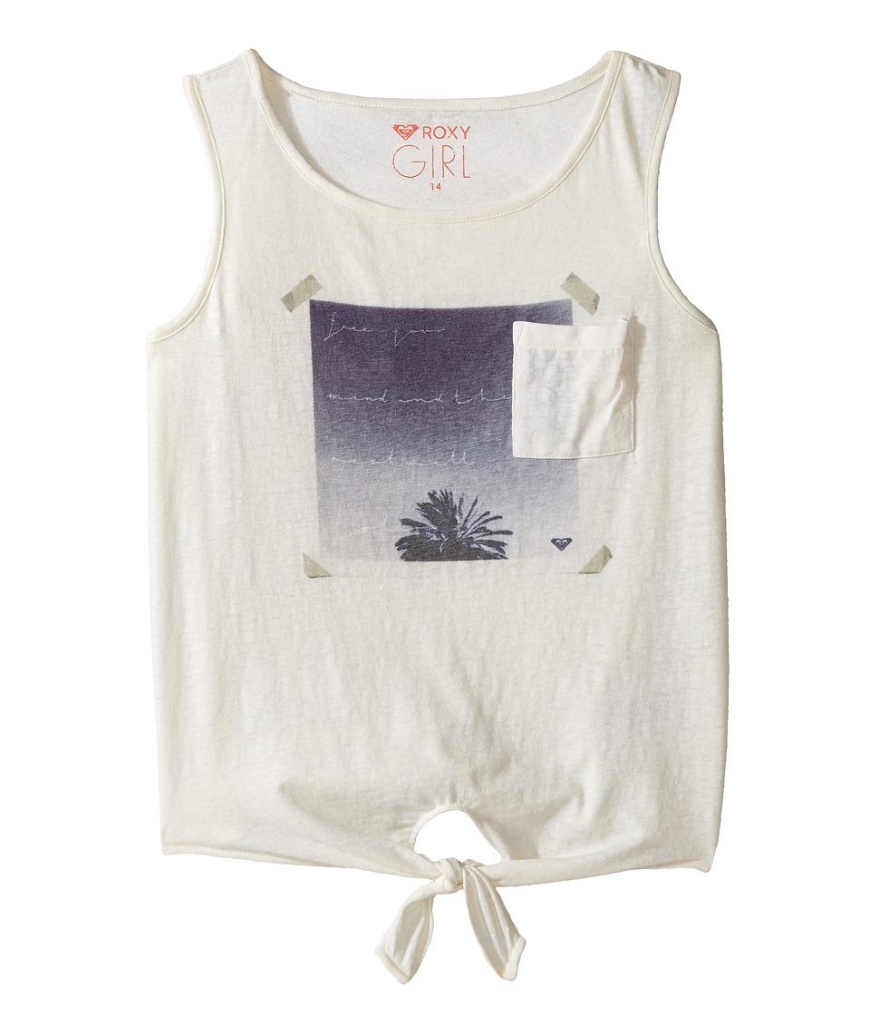 Roxy Kids - Key's Boarder Sunrise Palm Tank Top (Big Kids) (Marshmallow) Girl's Sleeveless