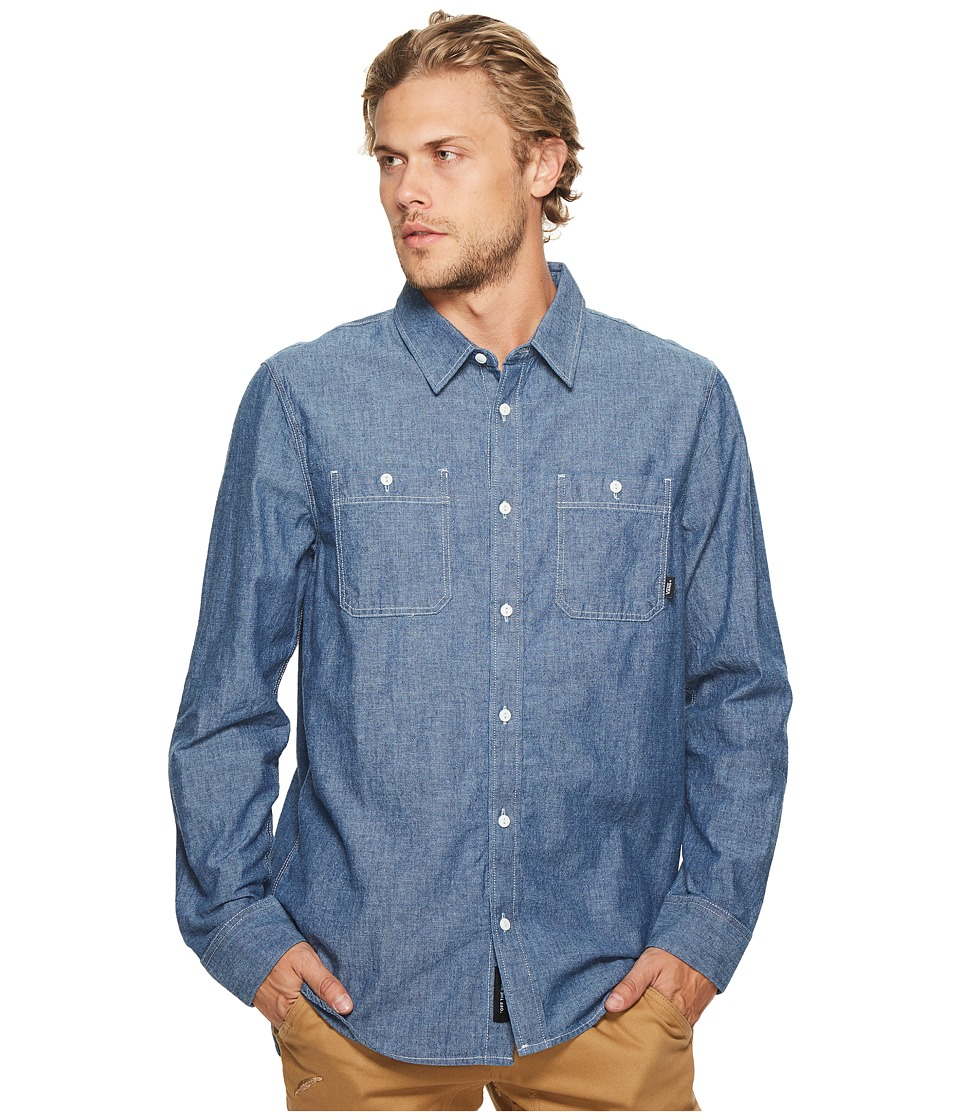Vans - Carlow Long Sleeve Woven Top (Indigo Chambray) Men's Long Sleeve Button Up
