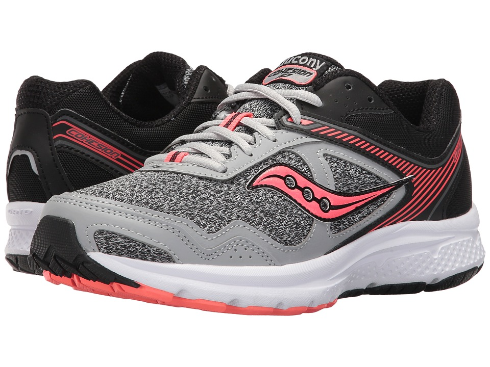 Saucony - Cohesion 10 (Grey/Black/Coral) Women's Shoes