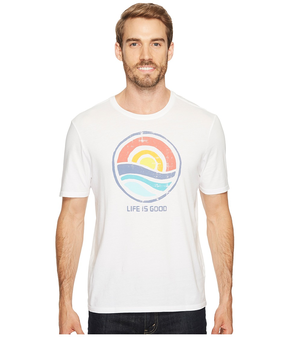 Life is Good - Color Block Sunrise Smooth Tee (Cloud White) Men's Short Sleeve Pullover