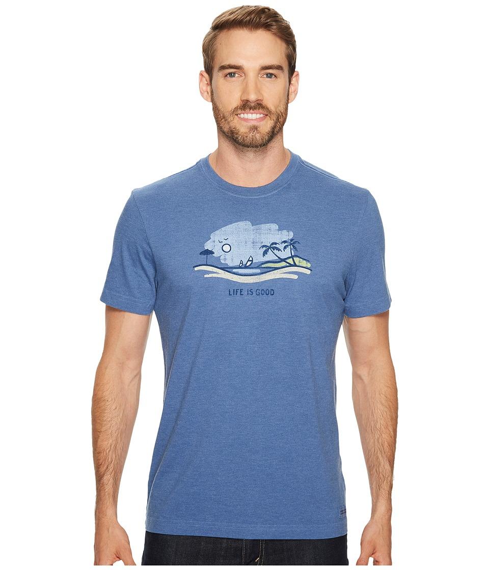 Life is Good - Beach Vista Crusher Tee (Heather Vintage Blue) Men's Short Sleeve Pullover