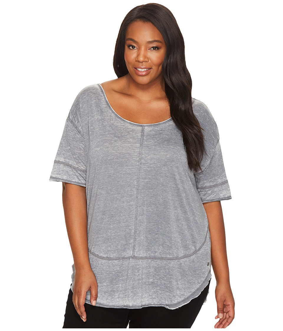 Jag Jeans Plus Size - Plus Size Cafe Burnout Jersey Tee (Grey Stone) Women's T Shirt