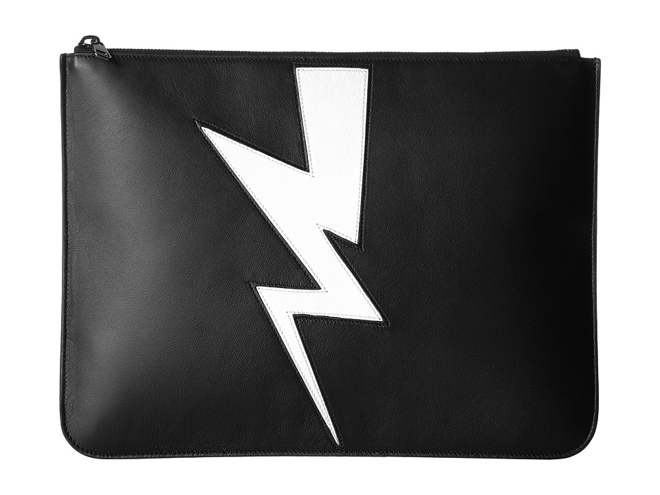 Neil Barrett - Abstracted Bolt Large Portfolio (Black/White) Bags