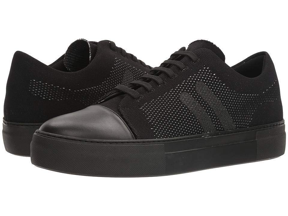 Neil Barrett - Paint Stripe Techknit City Trainer (Black/Off-White) Men's Shoes
