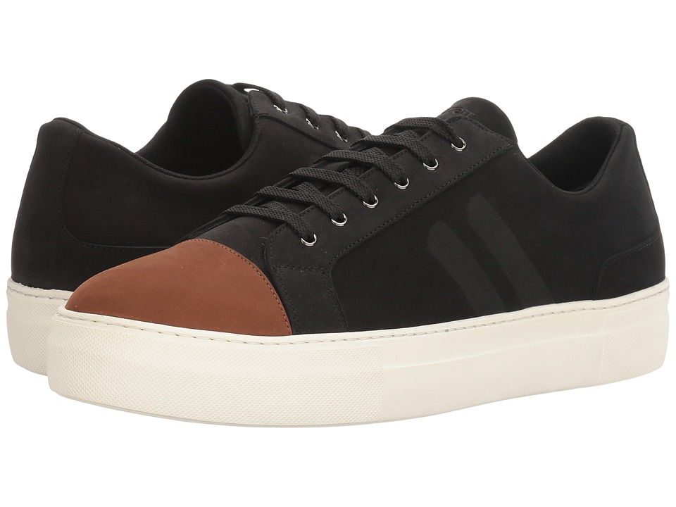 Neil Barrett - Paint Stripe Nubuck Trainer (Black/Tan) Men's Shoes