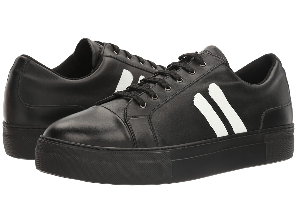Neil Barrett - Paint Stripe Nappa Trainer (Black/White) Men's Shoes