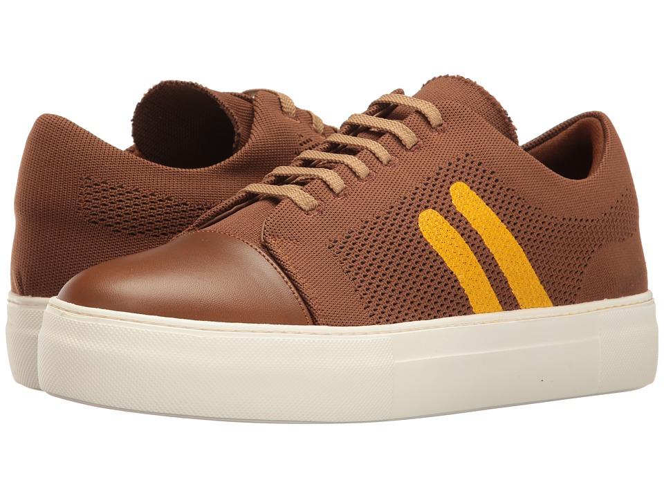 Neil Barrett - Paint Stripe Techknit/Nappa Trainer (Cognac/Buttercup) Men's Shoes