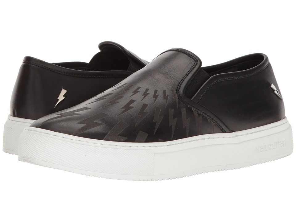 Neil Barrett - Tattoo Thunderbolt Slip-On (Black/White/Nickel) Men's Shoes