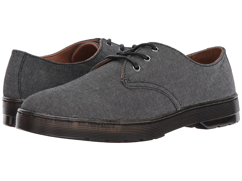 Dr. Martens Delray 3-Eye Shoe (Black Chambray Twill/Tan Knott) Men